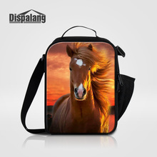 Dispalang Cool Brown Horse Printing Lunch Bag For Kids Boys Animal New Fashion Picnic Food Lunch Box Bags Women Thermo Lancheira