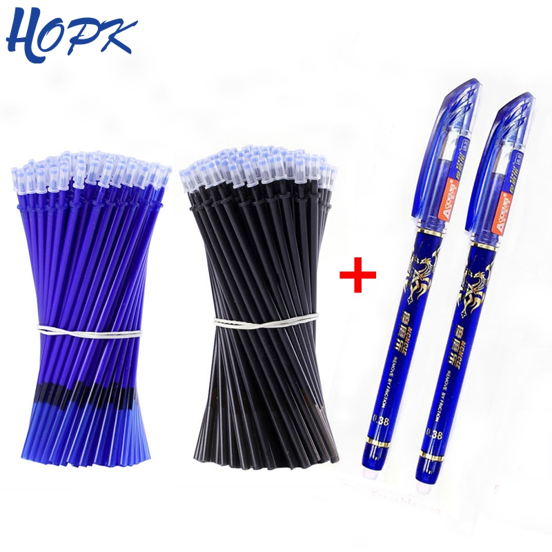 53Pcs/lot Erasable Washable Pen Refill Set 0.38mm Rod For Handle Blue/Black Gel Pen School Office Writing Supplies Stationery