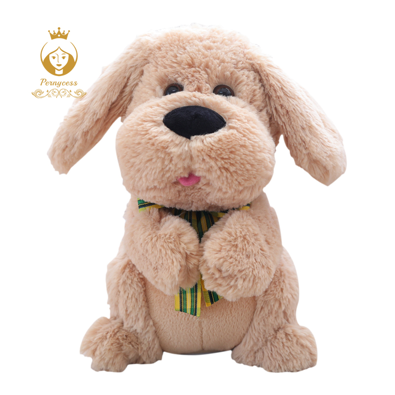 1PCS 28CM Electrical Peek A Boo Dog Plush Stuffed Animals Singing Baby Music Toys Ears Flaping Move Interactive Doll Kids Gifts