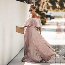 Elegant Off The Shoulder Boho Beach Dress Solid Women Summer Pleated Maxi Dresses 2019 Long Chiffon Vestidos