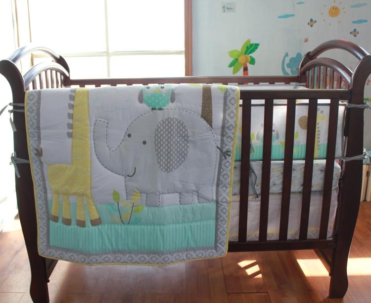 Elephant Giraffe Baby Bedding Set Cot Crib Bedding Set For