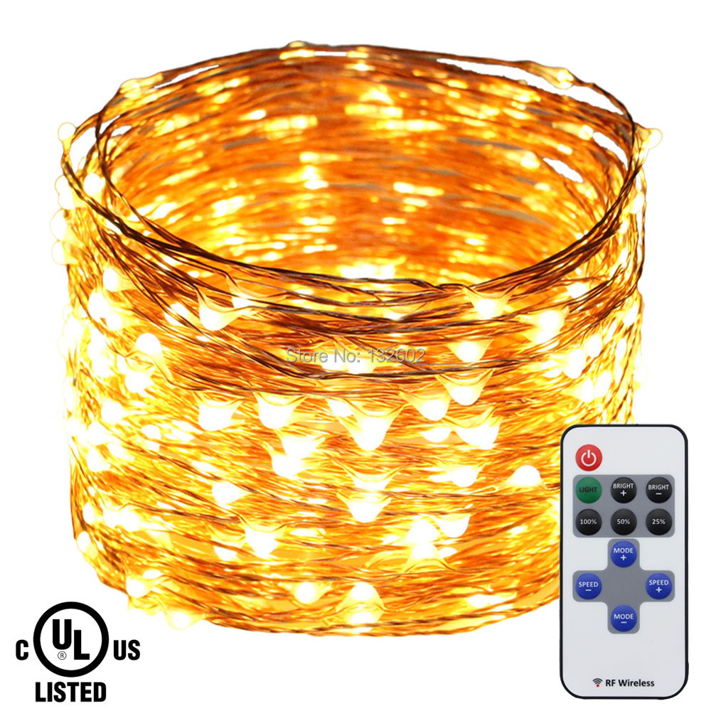 LED String Lights 30m 50m Copper Wire Christmas Starry Fairy Decorative Holiday Lights+12V 2A Adapter+RF Remote Control