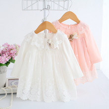 Baby Dressing Newborn Infant Baby Girl Lace Tulle Cartoon Embroidery Princess Party Long Sleeve Spring Autumn Dress Clothes T6#