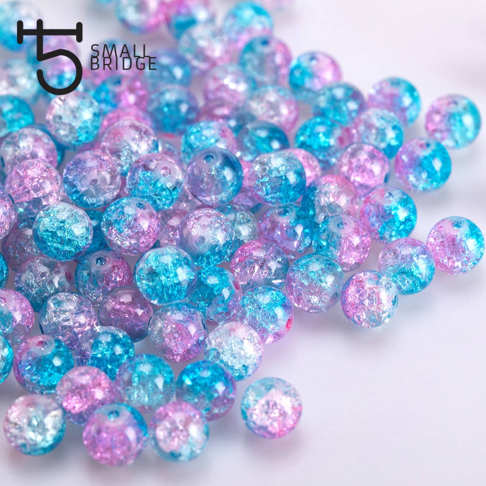 6 8mm Natural Snow Cracked Crystal Beads For Jewelry Making Women Diy Accessories Loose Round Spacer Quartz Beads Wholesale P802(China)