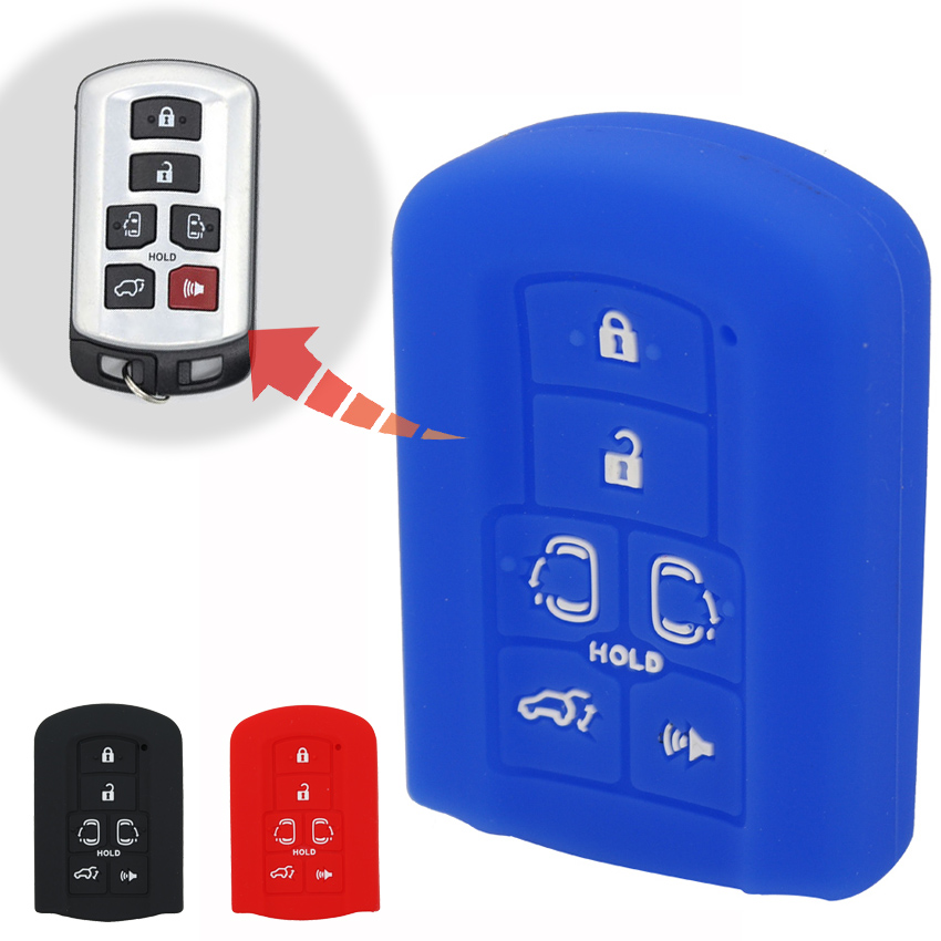 1pcs Silica Gel Car Key Cover Case For Toyota Sienna Se 2011 2012 2013 2014 6 Buttons Remote Key Shell Black Red Blue Color