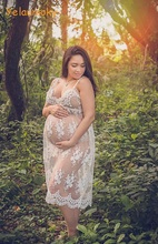 sleeveless Photography maternity lace dress prop photo shooting lace Maternity Gowns Sheer Pregnancy Photo Props [Yelaumoky]