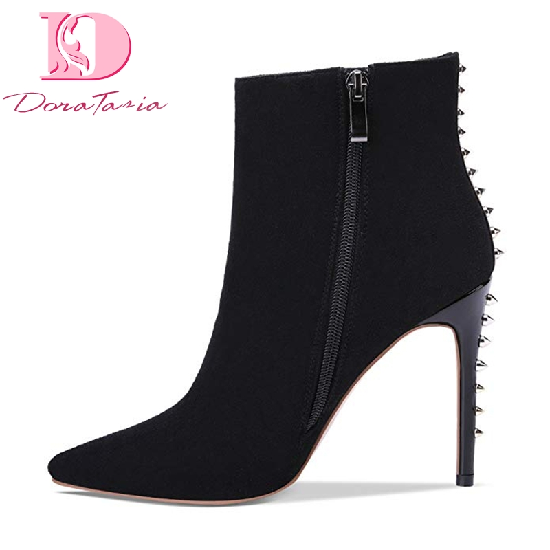 Doratasia New Plus Size 43 Hot Sale Flock Rivets women s Party Boots Shoes Woman Elegant
