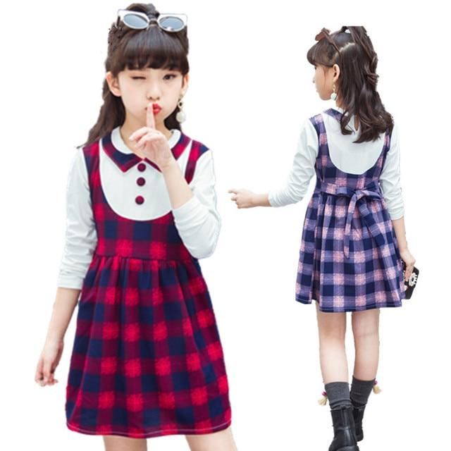 8c40af1dfd1b NEW Plaid Teenage Girl Dress Fashion Style Girls School Dress Wear School Girls  Uniform Kids Children clothing 3-12 year