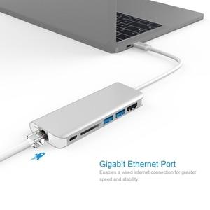 Image 4 - Amkle hdmi 어댑터 rj45 기가비트 이더넷 usb c 허브 hdmi 유형 c 어댑터 (카드 포함) macbook tablet 용 usb3.0 pd 충전 읽기