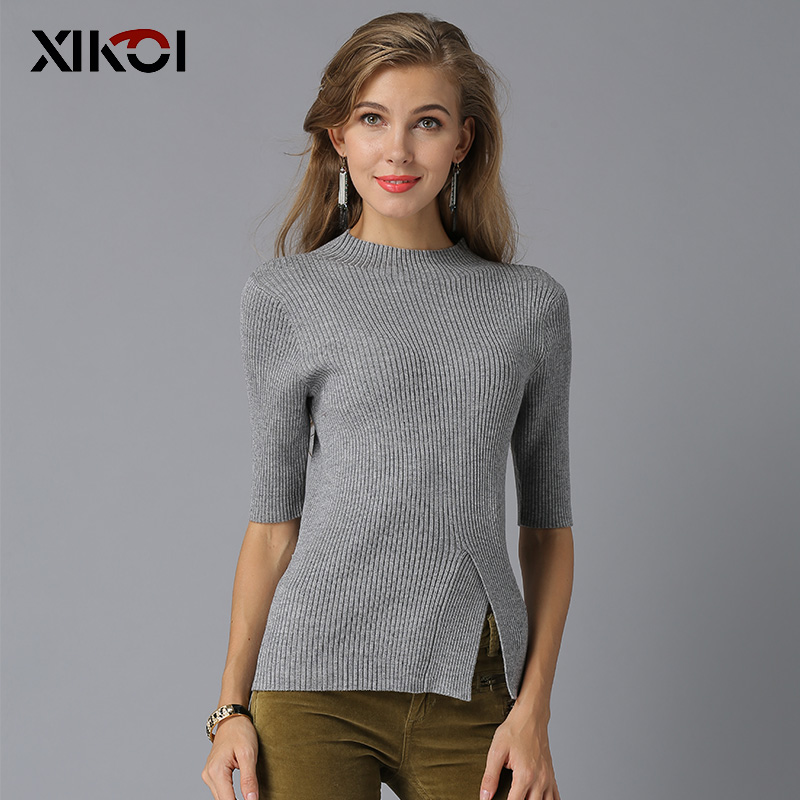 2018 New Arrived Christmas Woman Knitted Sweaters Casual Solid Half Turtlencek Pullover Female Thin Basic Sweater And Pullovers