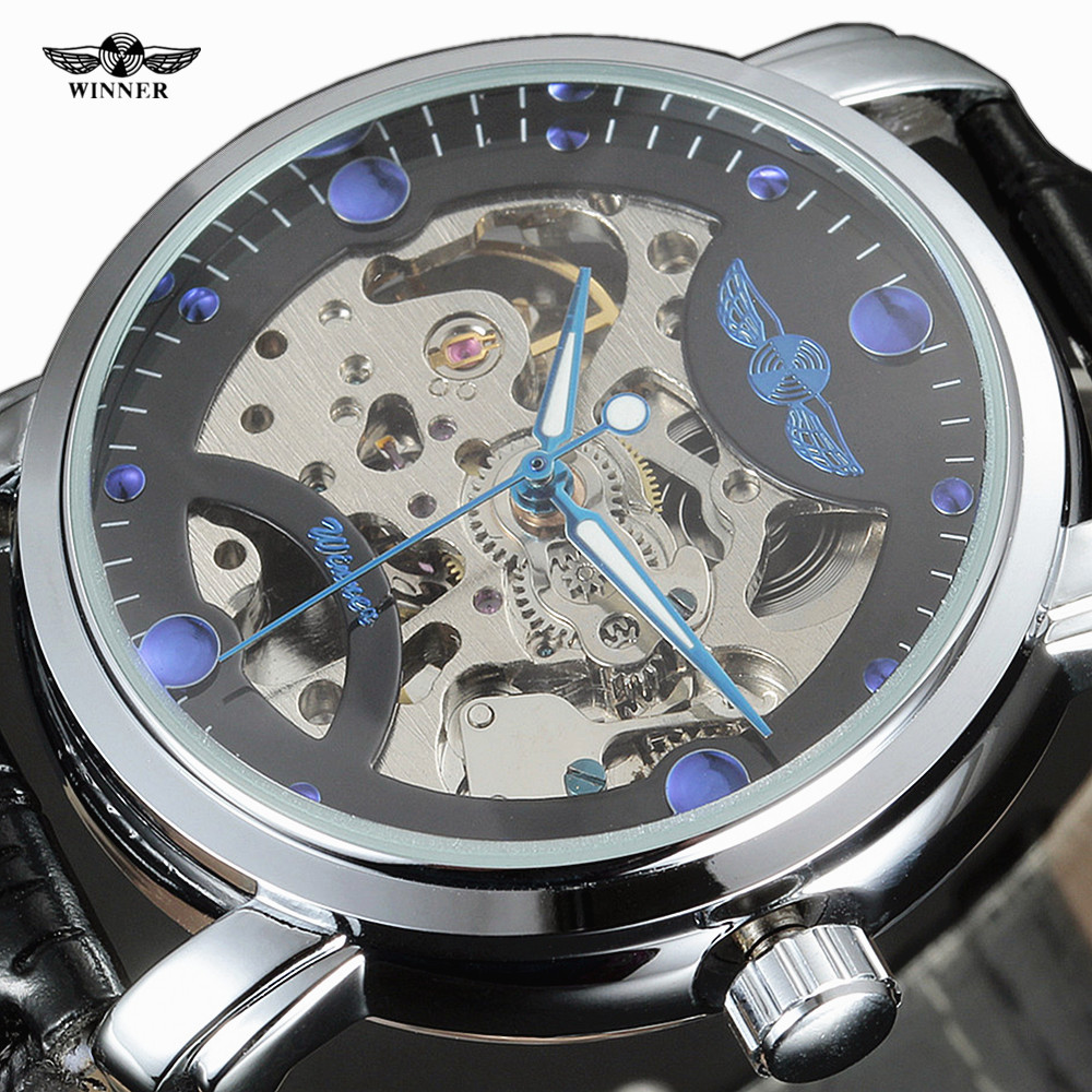 Winner Black Skeleton Designer Blue Engraving Clock Men Leather Strap Mens Watches Top Brand Luxury Automatic Watch Montre Homme cadisen new design bezel golden watch mens watches top brand luxury montre homme clock men automatic skeleton watch