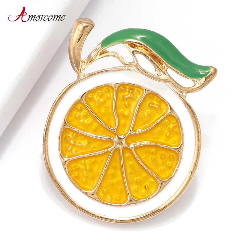 Amorcome Lemon Bros untuk Wanita Kerah Syal Kuning Enmal Pin Logam Elegan Pesta Perhiasan Orange Bros Wanita