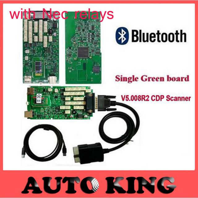 Mais recente 5.008R2 Keygen TCS CDP Único Verde Placa de Relés CDP Scanner Bluetooth + NEC + Multi-idioma para Carros caminhões De Diagnóstico Para