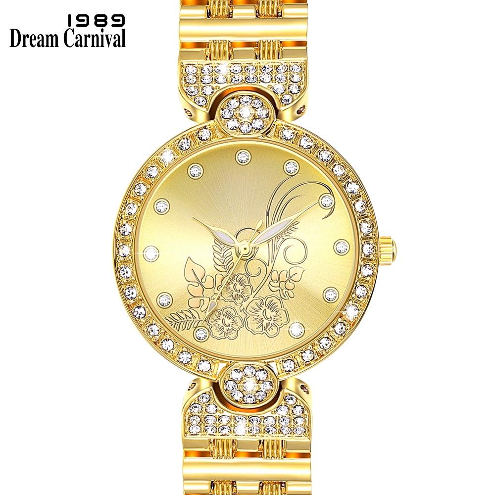 Dreamcarnival 1989 Elegante Flor Dial Relógio de Pulso para Mulheres Relógio de Cristal A8361 3 Mãos Movimento PC Direto Da Fábrica Por Atacado