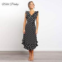 WildPinky Summer Ladies Long Dress Black White Dot Beach Women Evening Party Ruffles Midi Sundress Vestidos De Festa