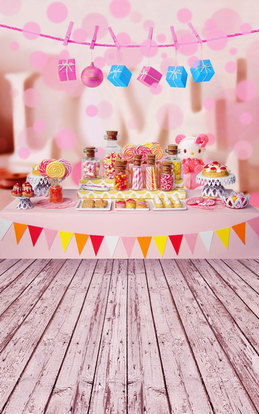 Custom vinyl cloth print pink birthday party photo studio