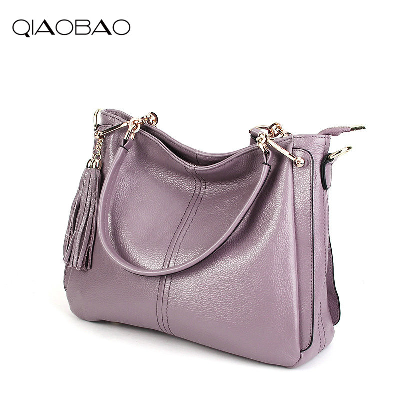 QIAOBAO 100% Genuine Leather Bags Womens Bag Famous Brand Designer Handbags High Quality Tote Shoulder Messenger Bags