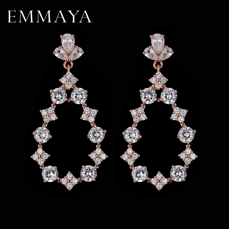 EMMAYA New Eco-Friendly Beautiful Rose Gold Color Earrings for Women AAA CZ Earring For Girls and Women