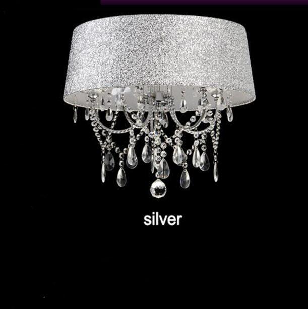 Осветительная лампа, подвесные светильники, светодиодная Хрустальная спальня, благородная Роскошная лампа, дымоход e14, лампа, стеклянная основа, светодиодная лампа, модный абажур XU - Цвет корпуса: silver