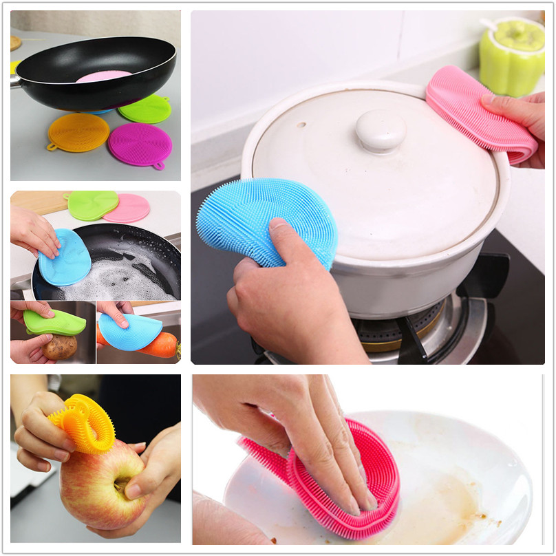 Multifunction Silicone Anti scald Dish Bowl Cleaning Brush Scouring Pad Pot Pan Wash Brushes Kitchen Cleaner Cool Tool