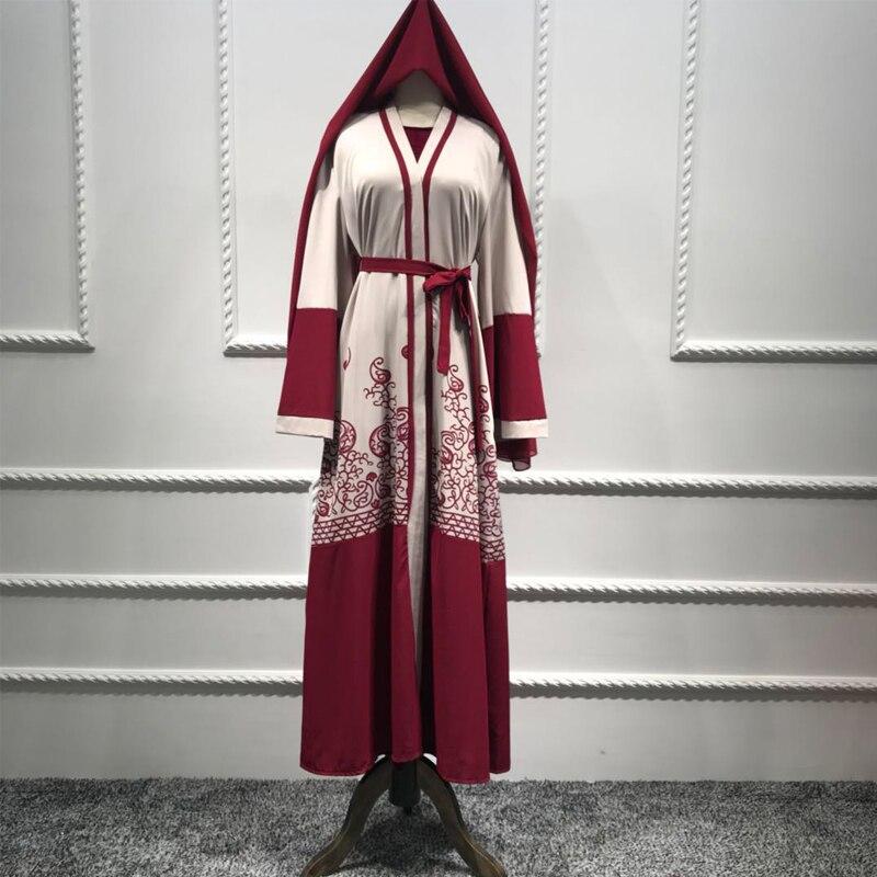 Plus Size Abaya Dubai Kimono Long Red Maxi Cardigan Muslim Dress Ramadan Abayas For Women Turkish