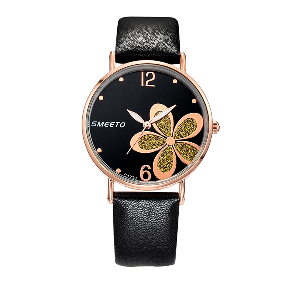 Fashion Women Girl Shiny Flower Quartz Analog Faux Leather Casual Wrist Watch