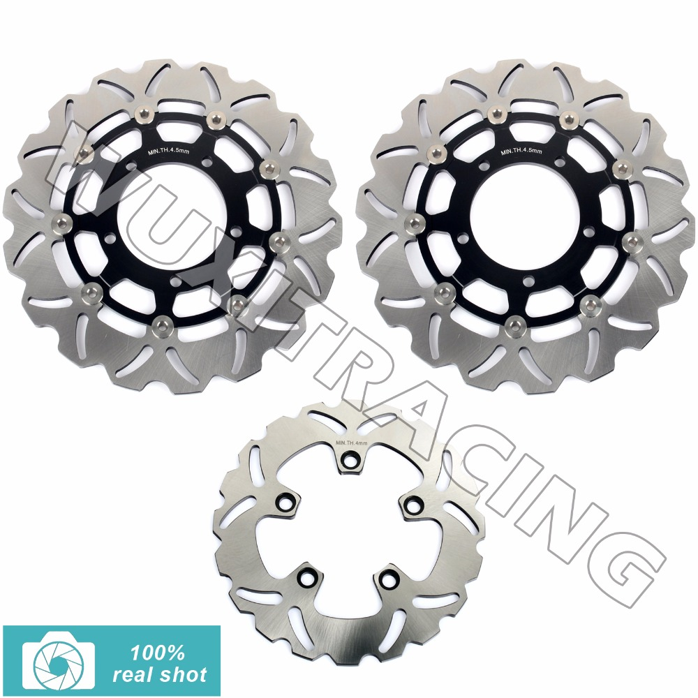 fit for SUZUKI GSXR600 GSXR750 GSXR1000 GSX R 600 750 100 2005 2006 2007 2008 05-08 New Full Set Front Rear Brake Discs Rotors aftermarket free shipping motorcycle parts for motorcycle 2006 2007 suzuki gsxr 600 750 2005 2008 gsx r 1000 chrome