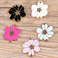 Newest Mini Order 20PCS Assorted Color Oil Drop Jewelry Flowers Charms with 2 Holes Gold Tone Enamel DIY Bracelet Connector