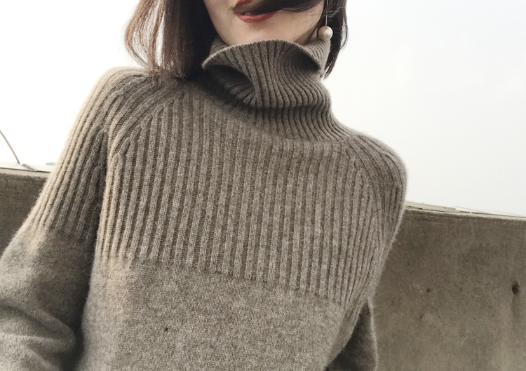 Women Sweater 100%Cashmere-Wool Knitted Turtleneck