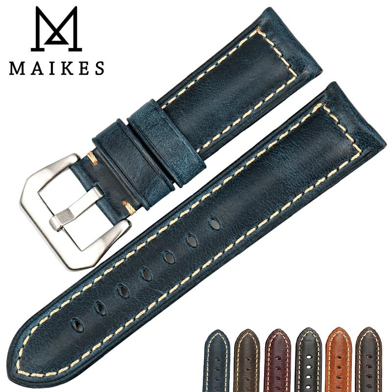 MAIKES Montre Accessoires Huile Cire En Cuir Bracelet De Montre 20mm 22mm 24mm 26mm Bracelets Vintage Bleu Montre bande Bracelet Pour Panerai