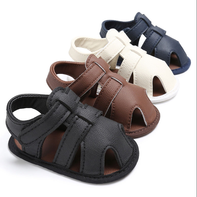 Toddler Baby Boys Crib Shoes Leather Soft Sole Sandals Anti-slip Sandals 0-18M