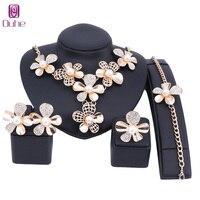Moda Perla de Imitación de Cristal Dubai sistema de La Joyería Africana Traje de Los Accesorios de Color Oro Joyería Nupcial wedding Sets