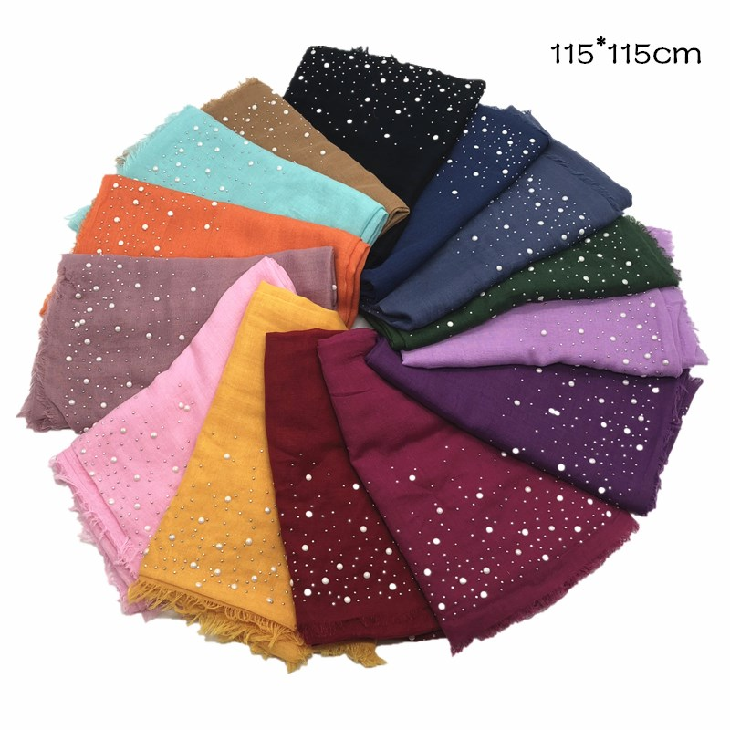 14 colors New Square hijab scarf snow dot bead decor kerchief scarves and shawls luxury muslim hijabs vintage pashmina muffler