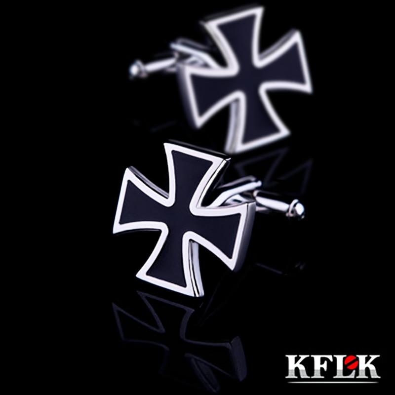 KFLK 2018 Luxury shirt cufflinks for mens gift Brand cuff buttons Iron Cross cuff links Black High Quality abotoaduras Jewelry