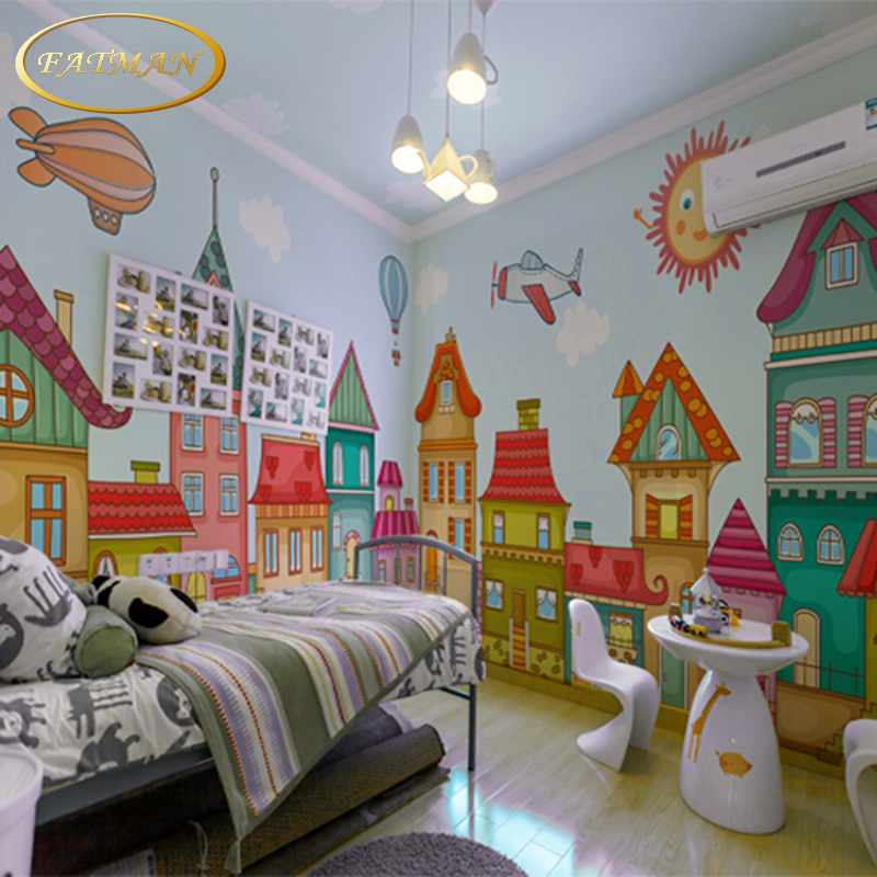 Custom 3d photo wallpaper cartoon boy and girl mural for Children s mural wallpaper