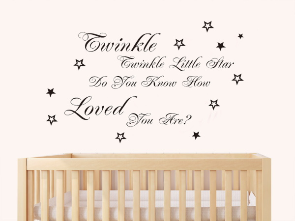Twinkle Twinkle Little Star English Song Lyric Quote Wall Stickers Stars  Vinyl Wall Stickers Decoration For Kids Room Home Decor In Wall Stickers  From Home ... Part 20