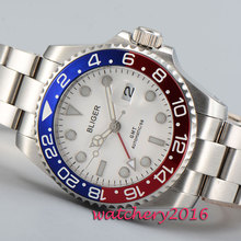 цена Casual 43mm Bliger sapphire glass white dial date window GMT Automatic movement Men's Watch онлайн в 2017 году