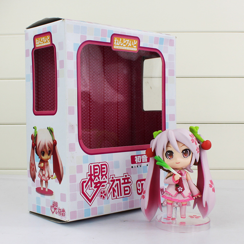 2019 New Style 410cm Nendoroid Series Hatsune Miku Action Figure Vocaloid Pink Sakura Q Version Collectible Model Toys With Leek Spring Onion Firm In Structure Toys & Hobbies