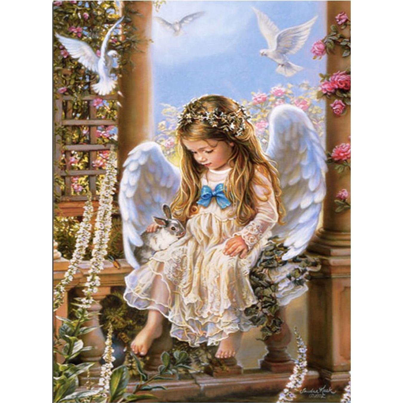YTG Full Lovely Angel Girl 5D DIY Diamond Painting Needlework Embroidery Cross Stitch Round Rhinestone Room Decor Crafts