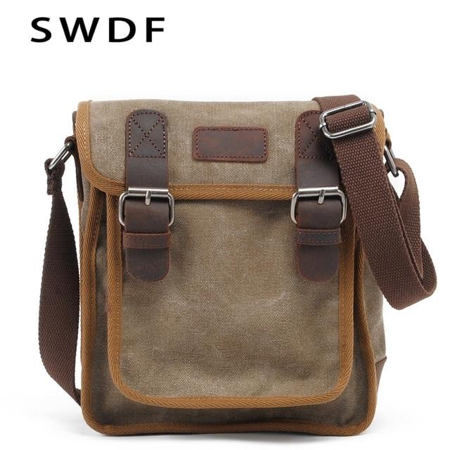 698cd6d1a555 SWDF Canvas Vertical Men Messenger Bag Cow Leather Crossbody Bag Casual  cowboy Shoulder Bag Original Retro Shell Package