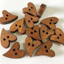 10 шт. 19*16 мм декоративные деревянные пуговицы для шитья в форме сердца, аксессуары для скрапбукинга, деревянные пуговицы для рукоделия одежды 51057