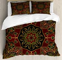 Maroon Duvet Cover Set King Size Asian Nature Ethnicity Figures Eastern Art Fashion Tradition Stylized Flora Decorative 4 Piece