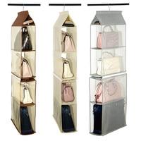 4 кармана складные Висячие сумки Органайзер для гардероба шкаф нетканый мешок для хранения прозрачный мешок для обуви и сумка-вешалка