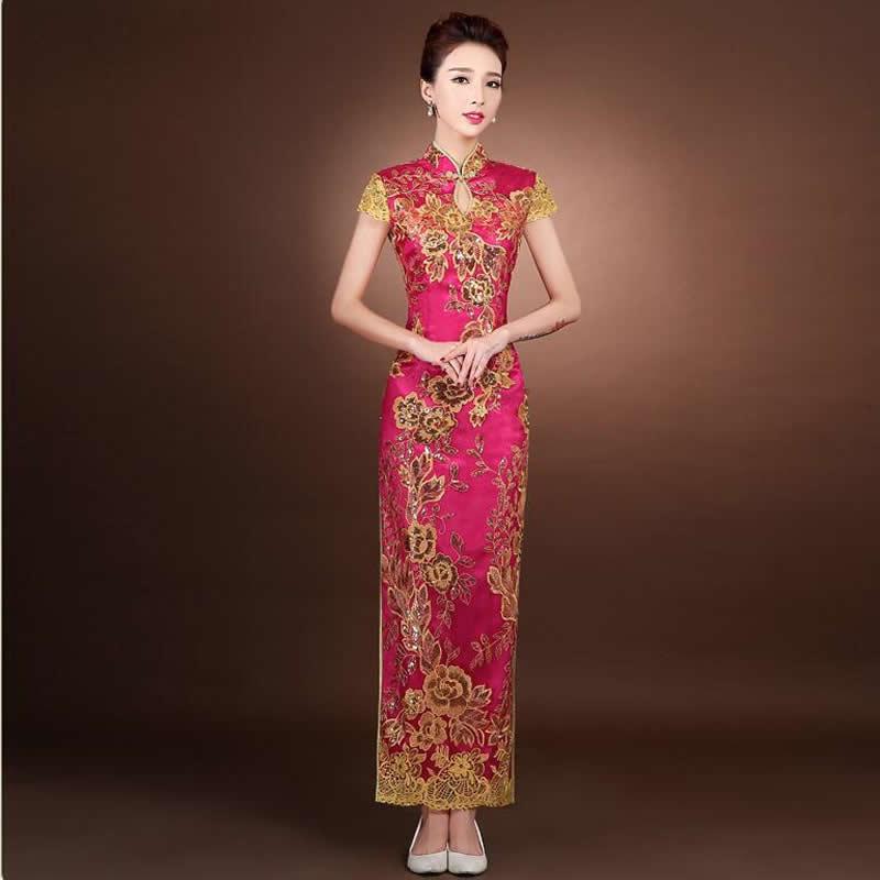 2016 Κινέζικα Παραδοσιακά Φορέματα Κίνα Φορέματα Γάμου Qipao Μακρά Βραδινά Κόμμα Cheongsam Qi Pao Φορέματα Oriental Ρόμπινγκ Chinoise