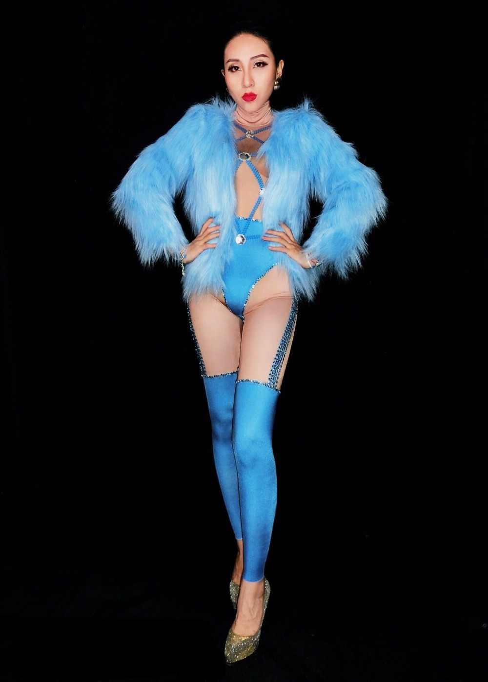 Женский сексуальный бар вечерние праздничные костюмы для певицы для сцены DJ DS одежда для выступлений Подиумные сценические комбинезоны синий комбинезон со стразами