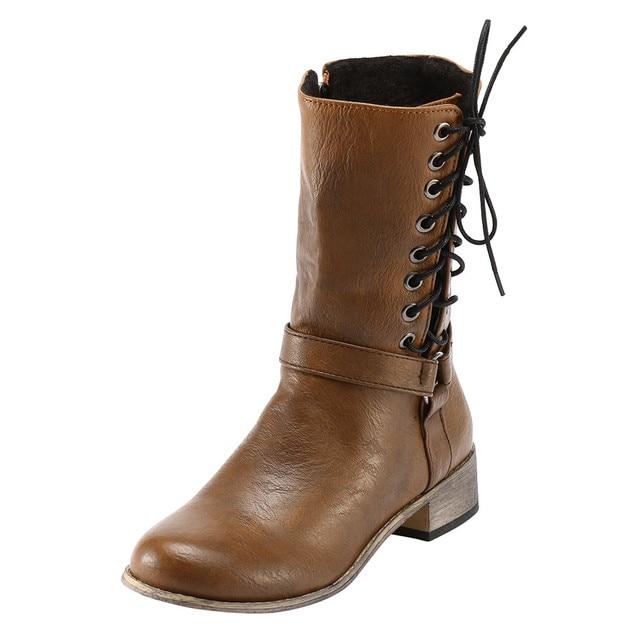 ผู้หญิง Retro รองเท้า Knight ลื่นรอบ Toe สวมใส่กลาง TubeKnig รองเท้าผู้หญิงฤดูหนาวรองเท้าผู้หญิงสำหรับ dropshipping