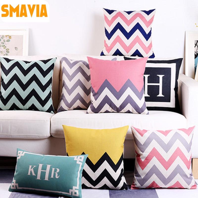 SMAVIA Geometric Pattern Cushion Cover Polyester&Linen