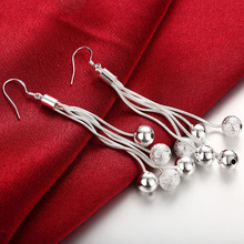 Hot sale Beautiful Female Earring 925 Silver Charm Beads Women Earrings Vintage Pretty Party Jewelry Gifts  Brincos