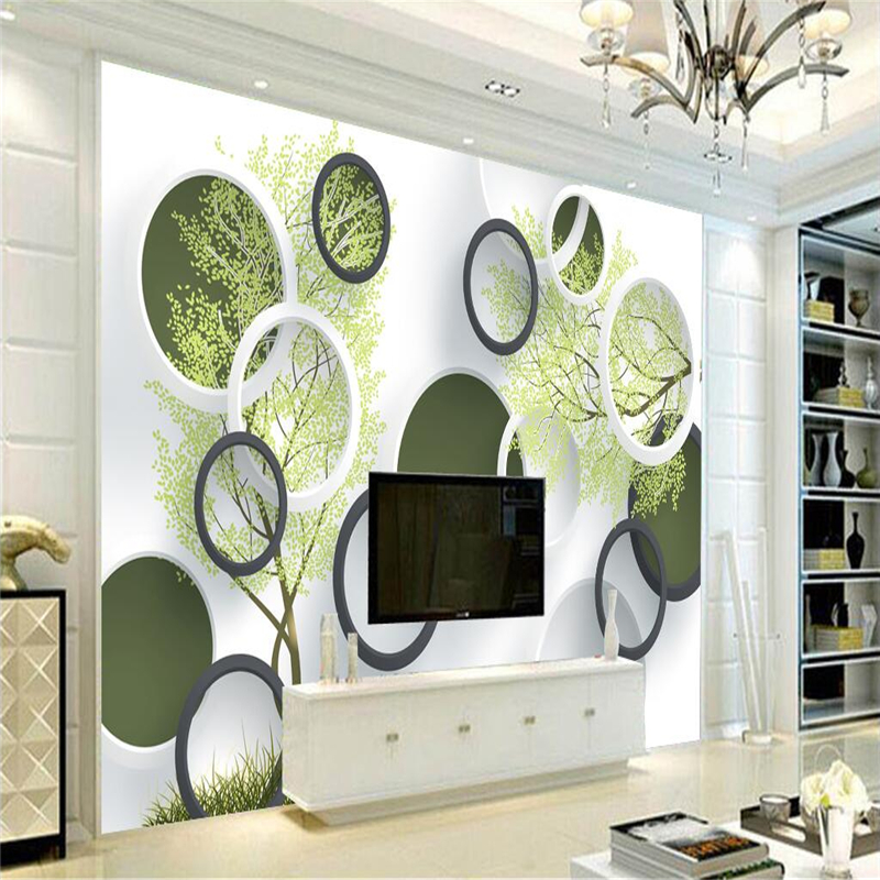 Custom 3d Photo Wall Murals for Living Room Green Tree Fashion Circle 3d Wallpaper Kitchen Bedside Sofa TV Background Wall Decor 3d abstract geometry photo wall paper mural for living room tv background wall decor wallpaper for walls 3d blue murals custom