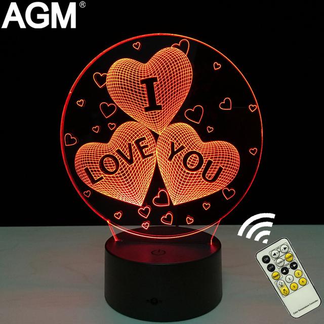 Amor romántico en Forma de Corazón LED 3D de Luz Mesa de Noche Táctil y Control Remoto Sueño de La Noche de Control de Lámpara de Escritorio Para El Día de San Valentín Gift Show amor